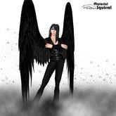 Ezazel Long Black Angel Wings - Flexi and Scripted Dark Angel Wings