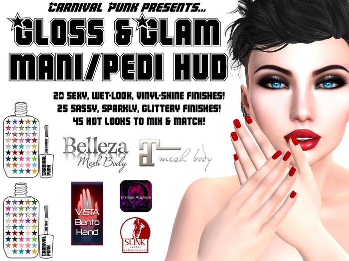 Carnival Punk Gloss-n-Glam Mani/Pedi HUDs for Vista, Slink, Belleza, Omega & Maitreya