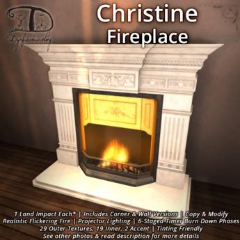 Christine Fireplace - 1 LI + Corner & Flat + Natural Burning Fire + Texture Change
