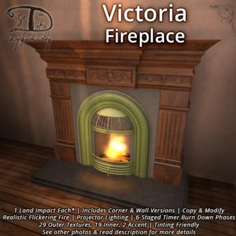 Victoria Fireplace - 1 LI + Corner & Flat + Natural Burning Fire + Texture Change