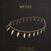Messy. Feather Anklet Gold