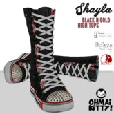 [OMK] Shayla Black & Gold Star High Top Sneakers  (B/M/S)