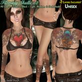 ::Para Designs:: Flaming Skulls v2 Tattoo ~ Unisex