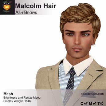 A&A Malcolm Hair Ash Brown (FUNCTIONAL DEMO). Mens mesh hair