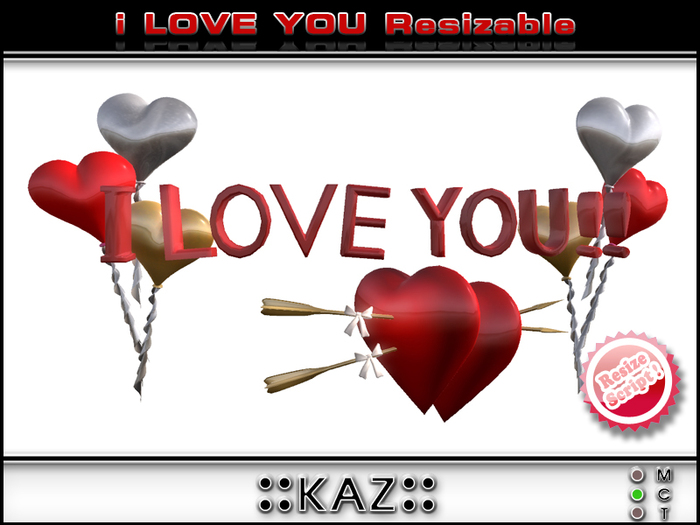 I LOVE YOU SCULPTED TEXT VALENTINE GIFT - RED RESIZABLE