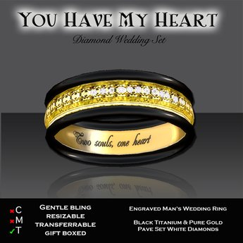 Second Life Marketplace Exquisite You Have My Heart Man S Gold Ring