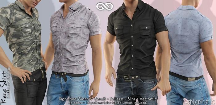 RENG Male Shirt FATPACK COLORS - MESH - Slink, Signature Gianni + Geralt, Aesthetic, Belleza Jake - FashionNatic