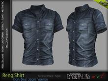 RENG Male Shirt DARK BLUE JEANS - MESH - Slink, Signature Gianni + Geralt, Aesthetic, Belleza Jake - FashionNatic