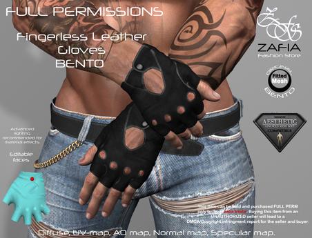 Full Perm-ZAFIA Fingerless Leather Gloves-Aesthetic BENTO