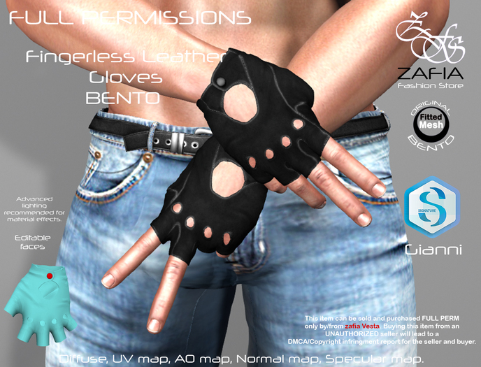 Full Perm-ZAFIA Fingerless Leather Gloves-Gianni BENTO