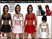 [ Mesh ] OutFit ( 4 Colors ) Dress & Heels - Chloe