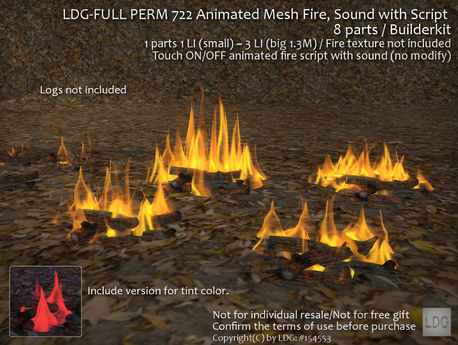 LDG-FULL PERM 722 Animated Mesh Fire, Sound with Script / ON - OFF / 8 parts /Builderkit