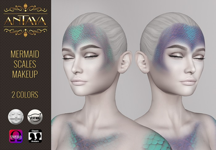 :: ANTAYA :: Mermaid scales makeup HUD applier \ CATWA, LELUTKA, OMEGA, CLASSIC
