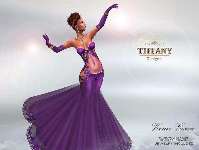 ::TD:: Vivian Gown with Appliers ~ Violet