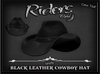 Riders Black Leather Cowboy Hat