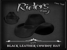 Riders Black Leather Cowboy Hat