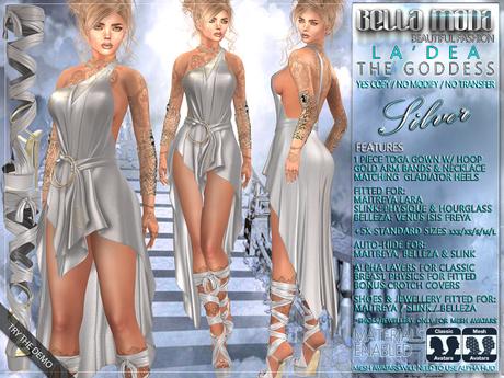 "Bella Moda: ""La'Dea"" - Silver Goddess Outfit - Maitreya/Physique/Hourglass/Isis/Venus/Freya+Std"