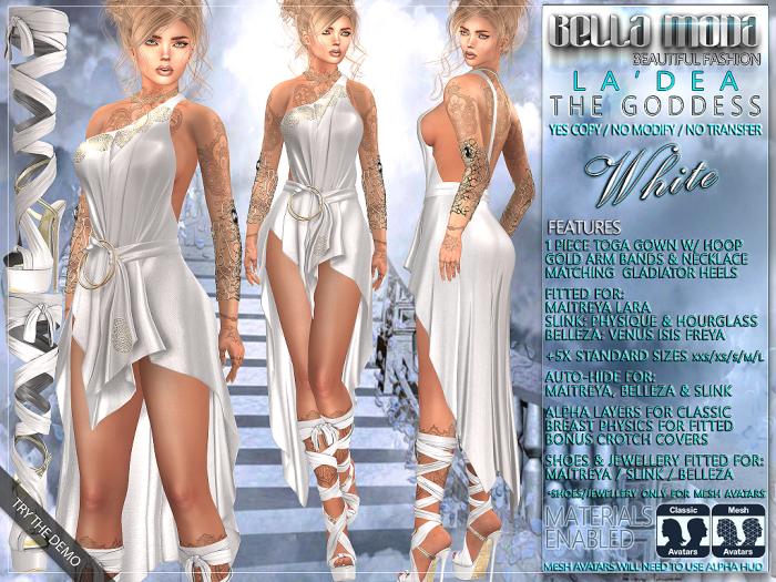 "Bella Moda: ""La'Dea"" - White Goddess Outfit - Maitreya/Physique/Hourglass/Isis/Venus/Freya+Std"
