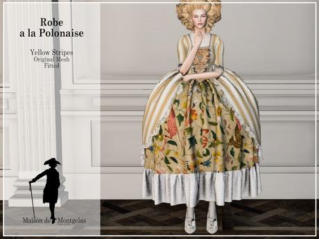 MdM - Robe a la Polonaise  - Stripes Yellow