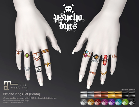 .{PSYCHO:Byts}. Pisione Rings Set