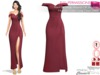 %50WINTERSALE Full Perm Front Slit Wrap Around Off Shoulder Maroon Color Long Gown Dress Slink, Maitreya, Belleza