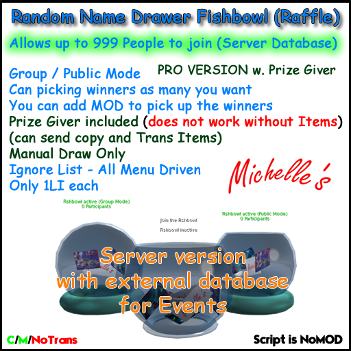 Fishbowl-Raffle Name Drawer Pro Version with Prize Giver Server