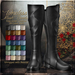 {AS} Timeless Fine Grain Leather Boots: 28 Color HUD; Unrigged mesh, Medieval, Fantasy, Western, Urban