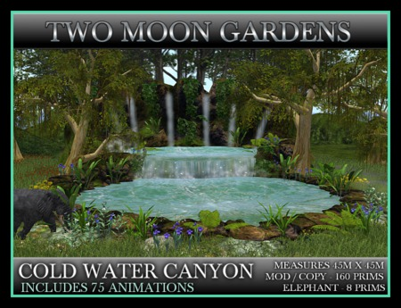 TMG - COLD WATER CANYON* Landscaped Waterfall with an animated, Walking Elephant