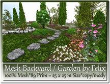 Mesh Backyard - Garden Scene by Felix 25x25m=86 Prim copy-mody