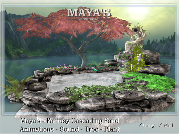Maya's - Fantasy Cascading Pond - Animations,Sound