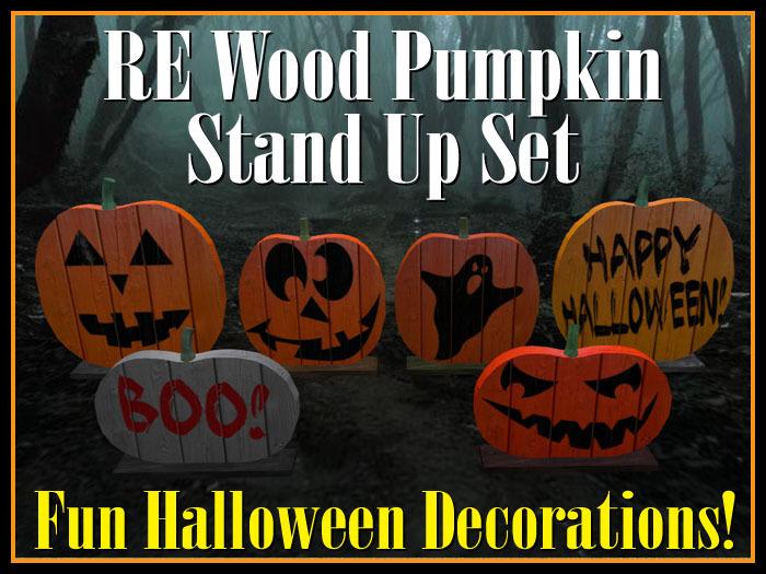 Second Life Marketplace Re Wood Pumpkins Stand Up Set Fun Halloween Decorations