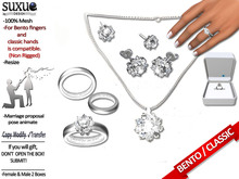 [SuXue Mesh] Cicis Bento & Classic Unrigged Wedding Set Ring Band Necklace Piercing Earrings Resize Fem & Male