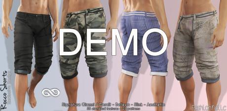 DEMO ROCCO FATPACK Male Shorts Pants MESH - AESTHETIC, SIGNATURE GIANNI - GERALT, SLINK, JAKE - FashionNatic