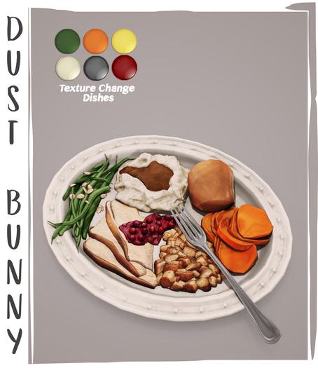 dust bunny . harvest feast . plate of food