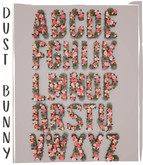 dust bunny . blossom letters