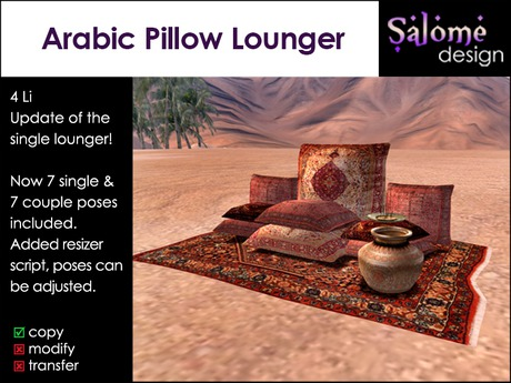 Arabic Pillow Lounger - Updated version - added couple poses
