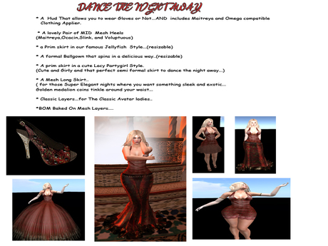 10 minute Demo Multiple Gowns Mesh and Omega/Maitreya Compatible Applier Formal Gown Set ..50% Off  August Special