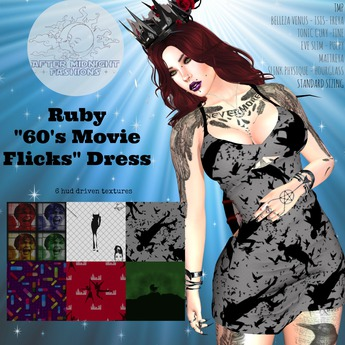"[AFTER MIDNIGHT FASHIONS] Ruby ""60's Movie Flicks"" Dress"