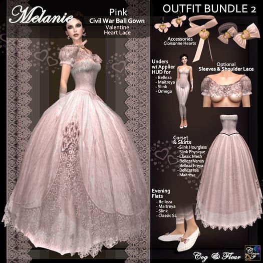 C&F Melanie Valentine Outfit BUNDLE 2 w Mesh Body Sizes - Pink Hearts