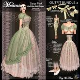 C&F Melanie Valentine Outfit BUNDLE 2 w Mesh Body Sizes - Sage Pink Hearts
