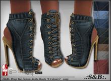 .:S&B:. Peep Toe Denim Ankle Boots *8 Colours*