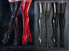 A&Y Aglaya Latex Cyber Boots - Black