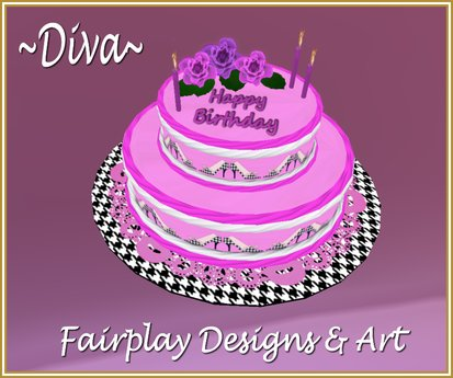 Magnificent Second Life Marketplace Diva 2 Tier Happy Birthday Cake Personalised Birthday Cards Bromeletsinfo