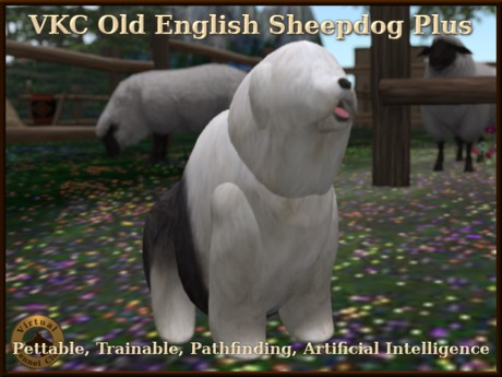 VKC® Old English Sheepdog Plus-Artificially Intelligent (AI) Trainable Pathfinding Dog-No Food Required