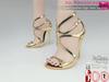 Full Perm Gold Leather High Heel Sandals Slink High, Maitreya High, Ocacin, Belleza High, High Heel