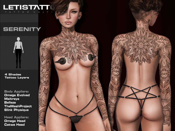 Letis Tattoo :: Serenity :: Tattoos Bakes On Mesh & Legacy Maitreya and more Appliers