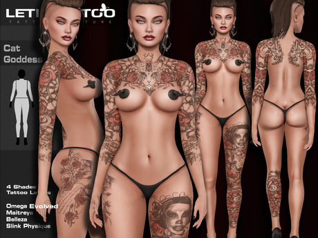 Letis Tattoo :: Cat Goddess :: Tattoos Bakes On Mesh & Legacy Maitreya and more Appliers