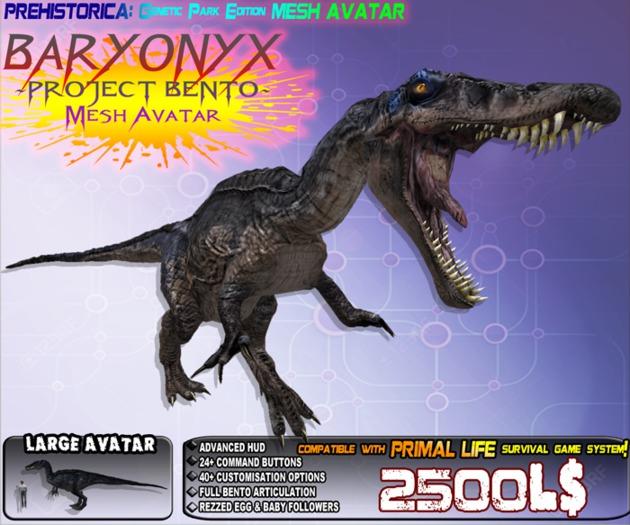 """BARY"" BARYONYX (GENETIC EDITION) ~ Bento Mesh Dinosaur Avatar ~ Prehistorica: The Dawn Kingdoms ~"