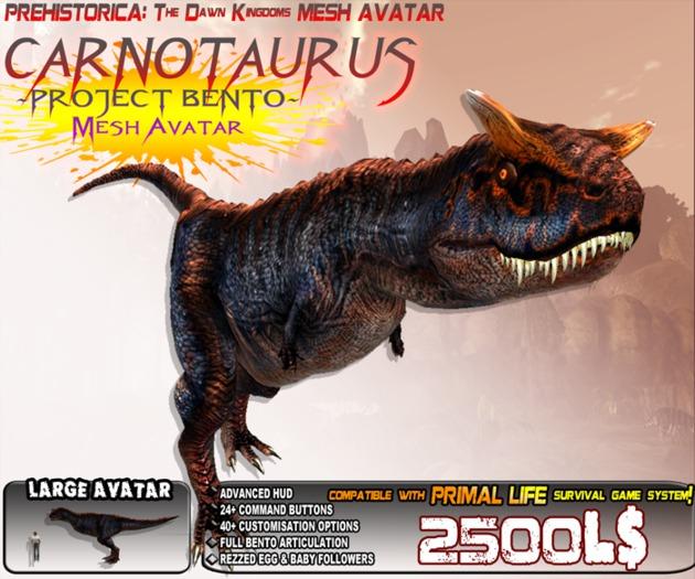 CARNOTAURUS ~ Bento Mesh Dinosaur Avatar ~ Prehistorica: The Dawn Kingdoms ~