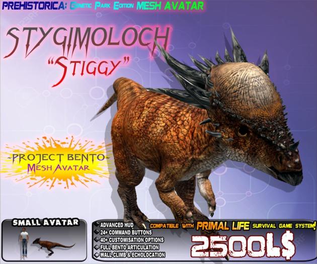 """STYGGY"" STYGIMOLOCH (GENETIC EDITION) ~ Bento Mesh Dinosaur Avatar ~ Prehistorica: The Dawn Kingdoms ~"